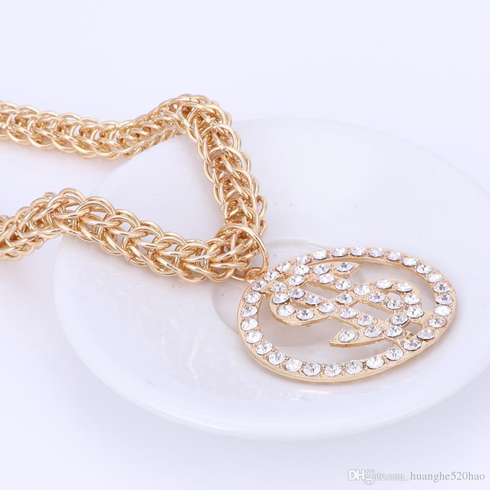Hot Sale US Dollar Money Necklace&Pendant Gold Silver Color Chain For Women/Men Rhinestone Hip Hop Bling Bracelet Jewelry Sets