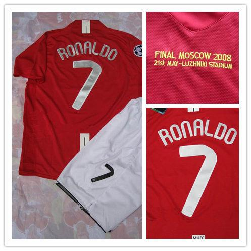 45f43fe80e5 Final Moscow 2008 Champions League Home Red Short-sleeved Jerseys