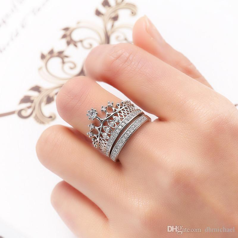 Sz6-10 Crown Diamonique Clear CZ White Gold Filled Wedding Engagement Party Ring Sets