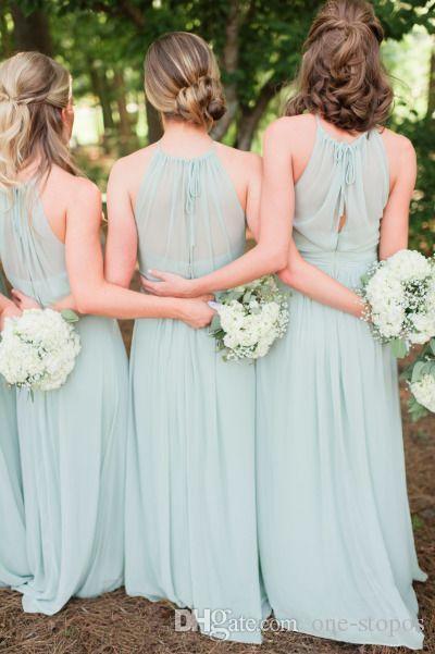 우아한 샐비어 시폰 러프 국가 신부 들러리 드레스 바닥 길이 긴 결혼식 파티 댄스 파티 드레스 여름 해변 하녀 명예 가운