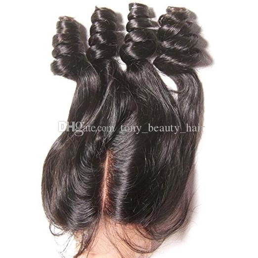Unprocessed Peruvian Funmi Hair With Closure Bouncy Curls 9A Aunty Funmi Hair 3 Bundles With Three 3 Way Part Lace Closure