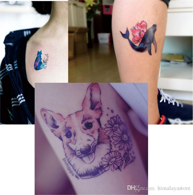 W04 Flower Whale, Dog, Cat Pattern Temporary Tattoo with Puppy, Kitty, Daisy Body Art Paint Tat