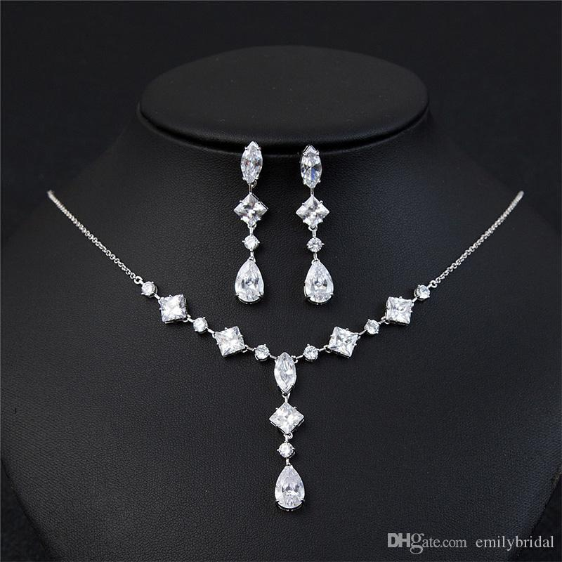 2017 Hot Sale Bridal Jewelry Sets Unique Design Water Drop Diamonds Wedding Necklace Earrings Cheap Accessories In Stock Tiara Wholesale