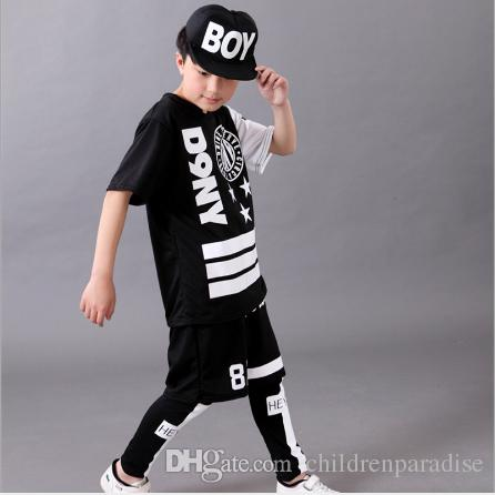 Survêtement Casual Enfants Survêtement Enfants Costume Enfants Hip Hop Dancewear Vêtements de Printemps Vêtements Cool Fashion Noir Blanc