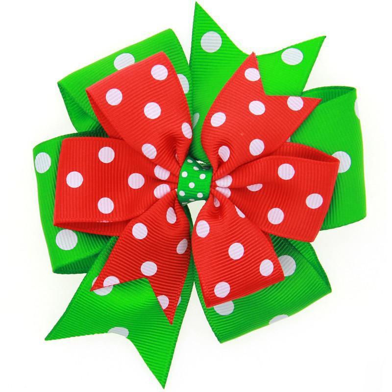 Haarnadeln des netten Weihnachtengroßen Bogens der Mädchen stecken Mattband Weihnachtsmusterdrucken headwear Wellenstreifenschneeflocken-Schneemannhaarclips fest