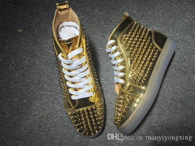 Men Shoes Spikes Sneakers Shoes,Luxury DesignerFashion High Top Women Rivets Flat Walking Shoes,Dress Party Wedding 35-46
