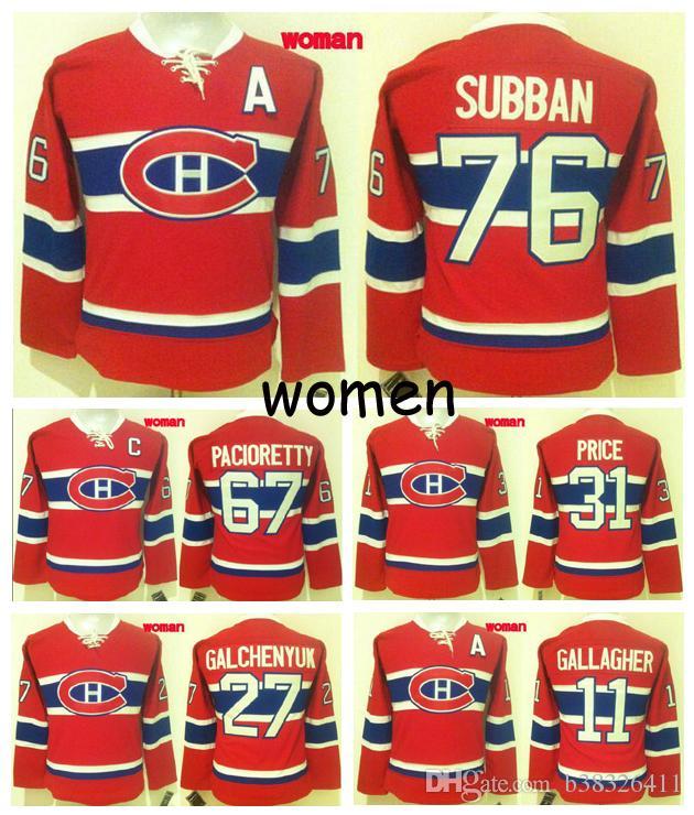 ... Hockey Jersey 2017 2016 New Women Montreal Canadiens 31 Carey Price 67  Pacioretty 76 P.K. Subban Gallagher Galchenyuk Stitched ... 18dc08c8e