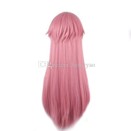 Gasai Yuno Mirai Nikki Cheap Long Straight Cosplay Hair Wigs Side Bang Heat Resistant Cartoon Pink Synthetic Wig