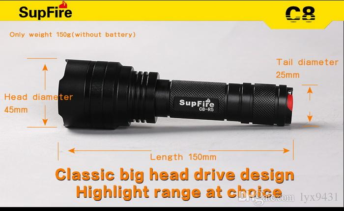 Outdoor Sports LED Flashlight CREE R5 450 Lumens 5W 5 Modes Rechargeable Handy Portable Torch Super Bright Long Shot High Power Flash Light