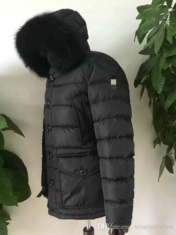 Plus tamaño de los hombres Chaquetas francesa Marca de pato blanco abajo del collar abrigos de piel Parka capó Mans Parkas MM09