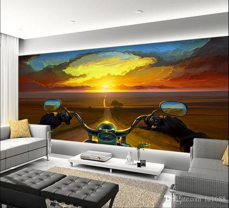 Creative Oil Painting Motorcycle Rider Sunset Large Mural Wallpaper Living Room Bedroom Tv Backdrop 3d Hd High Resolution