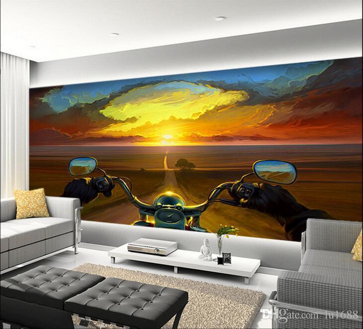 Kreative Ölgemälde Motorradfahrer Sonnenuntergang Große Wandbild Tapete  Wohnzimmer Schlafzimmer Tapete Malerei TV Hintergrund 3D Tapete