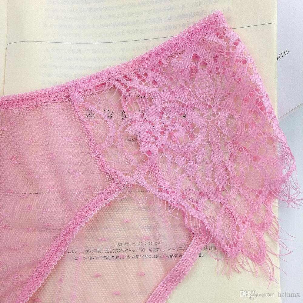 In-Stock Items Supply Type and New Design Sheer Black White Pink Panty See Through Lace Panties Type Period Panteez