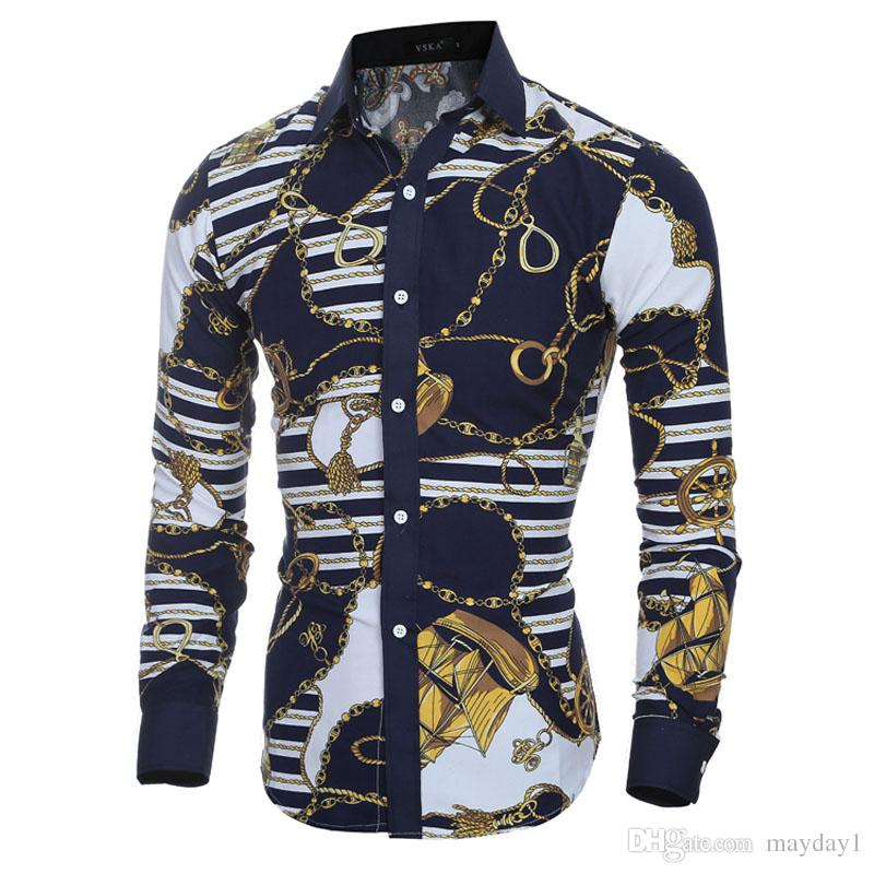 Großhandel Männer Langarm Shirt Plaid Männlichen Hochwertigen Tops Shirt  Mode Herren Kleid Shirts Schlank Hawaiian Große Größe Von Mayday1,  25.14  Auf De. a52e56f850