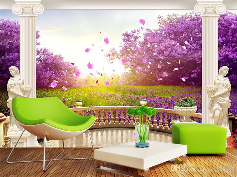 Photo Wall Murals Wallpaper Purple Landscape Fashion Decor Home