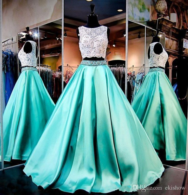 Gorgeous Two Piece Mint Green Lace Prom Dresses Crop Top Hollow Back Dresses  Evening Wear Beading Crystals Ruffles Satin Robe De Soiree Gown Betsy And  Adam ... 6877ad6c306f