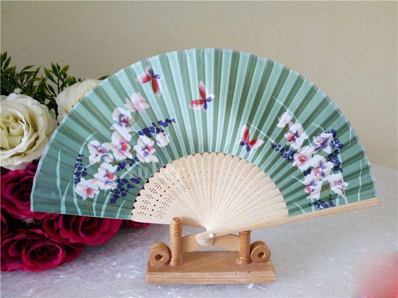 Classical Chinese Wedding favor Gift Flower Silk Fabric Hand Fan Sakura & Butterfly Adult's Festival Cloth Folding Craft Fan