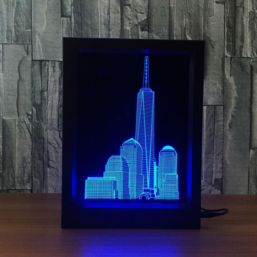 3D Building Lamp LED Photo Frame IR Remote 7 RGB Lights Battery or DC 5V Factory Wholesale Dropship