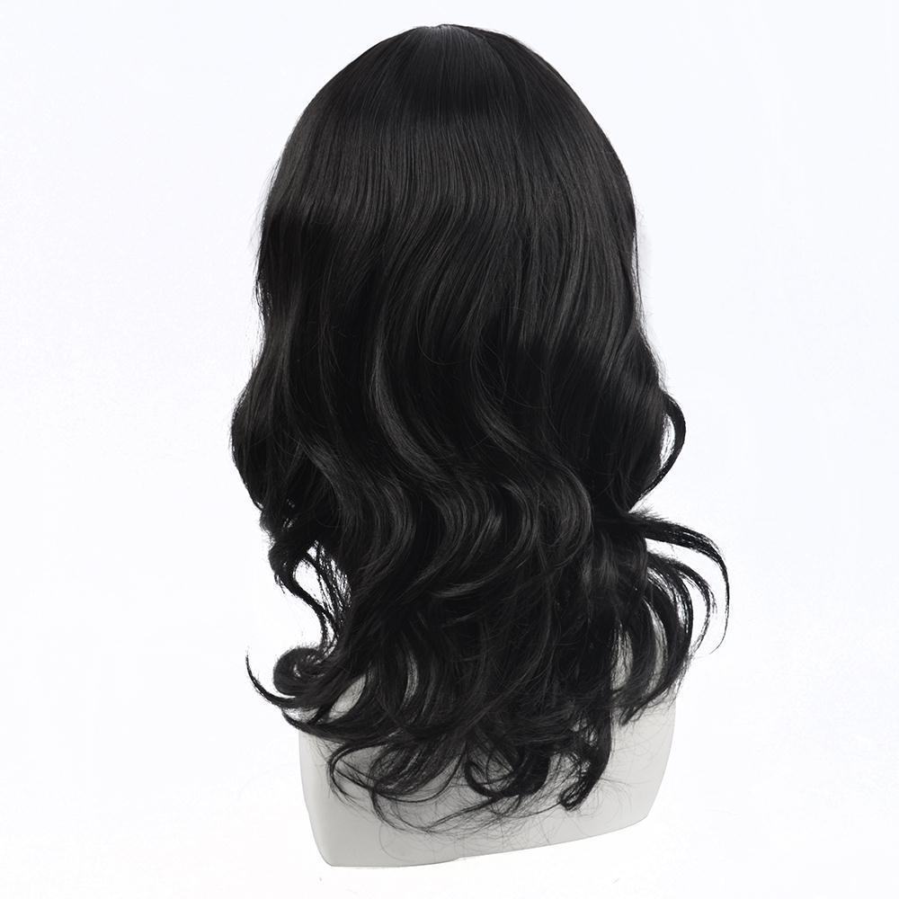 Kostenloser Versand Frauen Schwarze Perücken Mittellange Perücke mit Pony Wellenförmige Lockige Perücke Natürliche Synthetische Schwarze Perücken Perruque Afro Peruca Cosplay Frauen