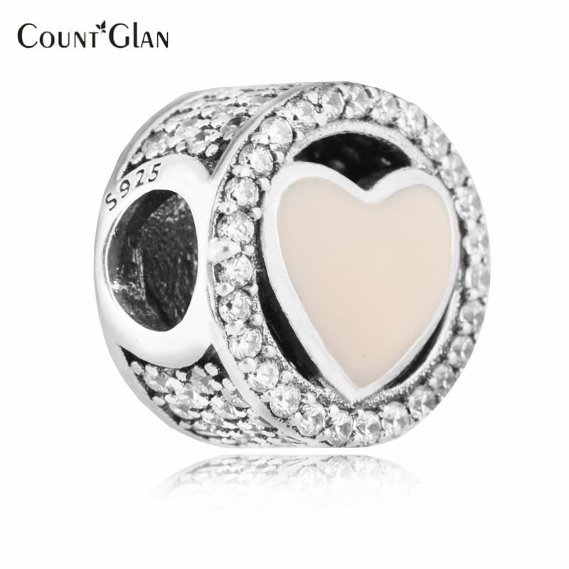 Passt Pandora Armbänder Wundervolle Liebe Silber Perlen mit weichem Rosa Emaille 2017 100% 925 Sterling Silber Charms DIY Schmuck 503
