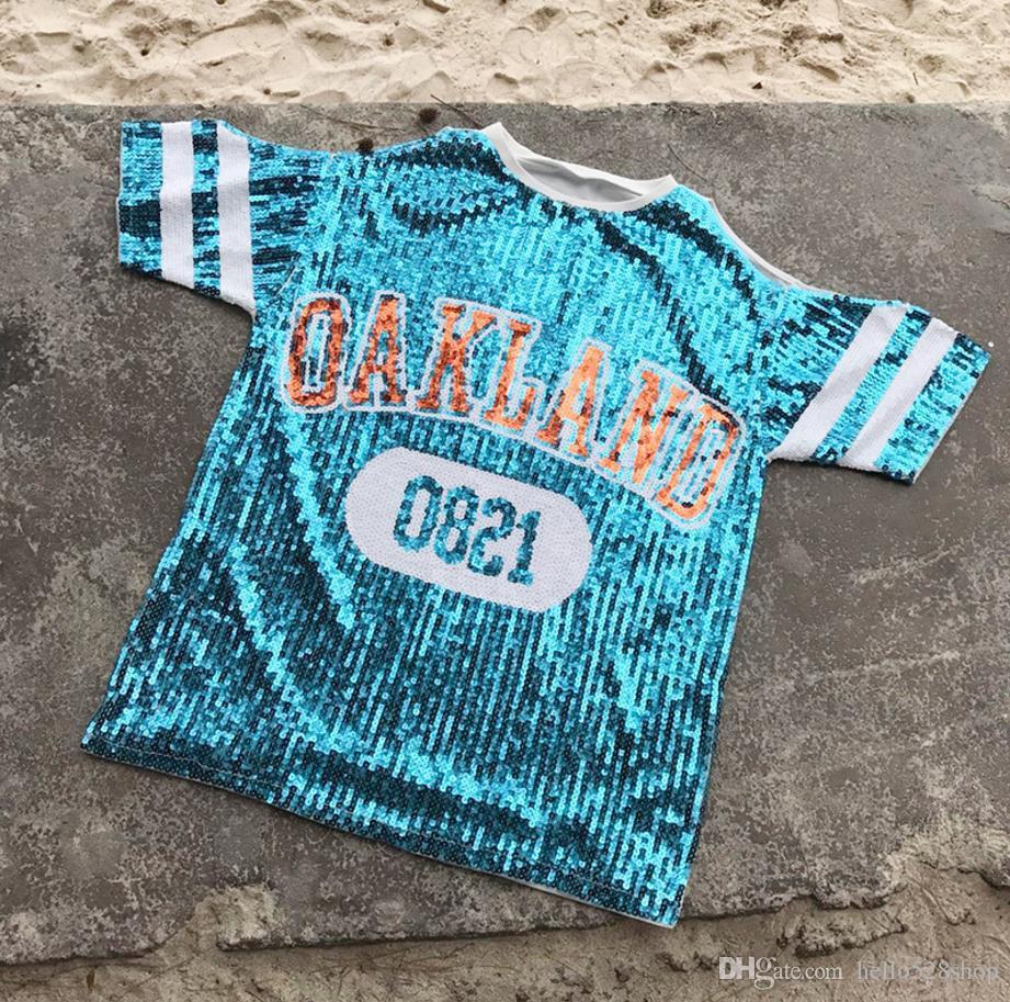 Yeni Sıcak Satış Rahat Gece Kulübü Kadın Yaz Sequins Mektuplar Gevşek Straplez Kısa Kollu T-shirt Kızlar Seksi Sutyen için S ...