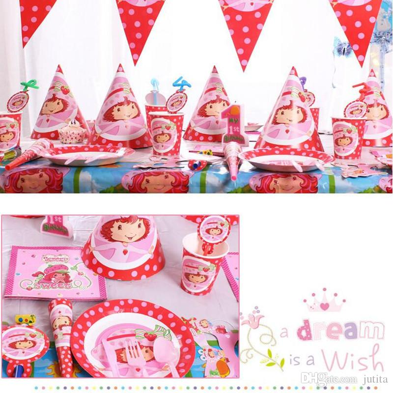 Children Strawberry Girls Birthday Theme 6 People Disposable Paper Tableware Set Kids Party Decorations Event Supplies Cheap For