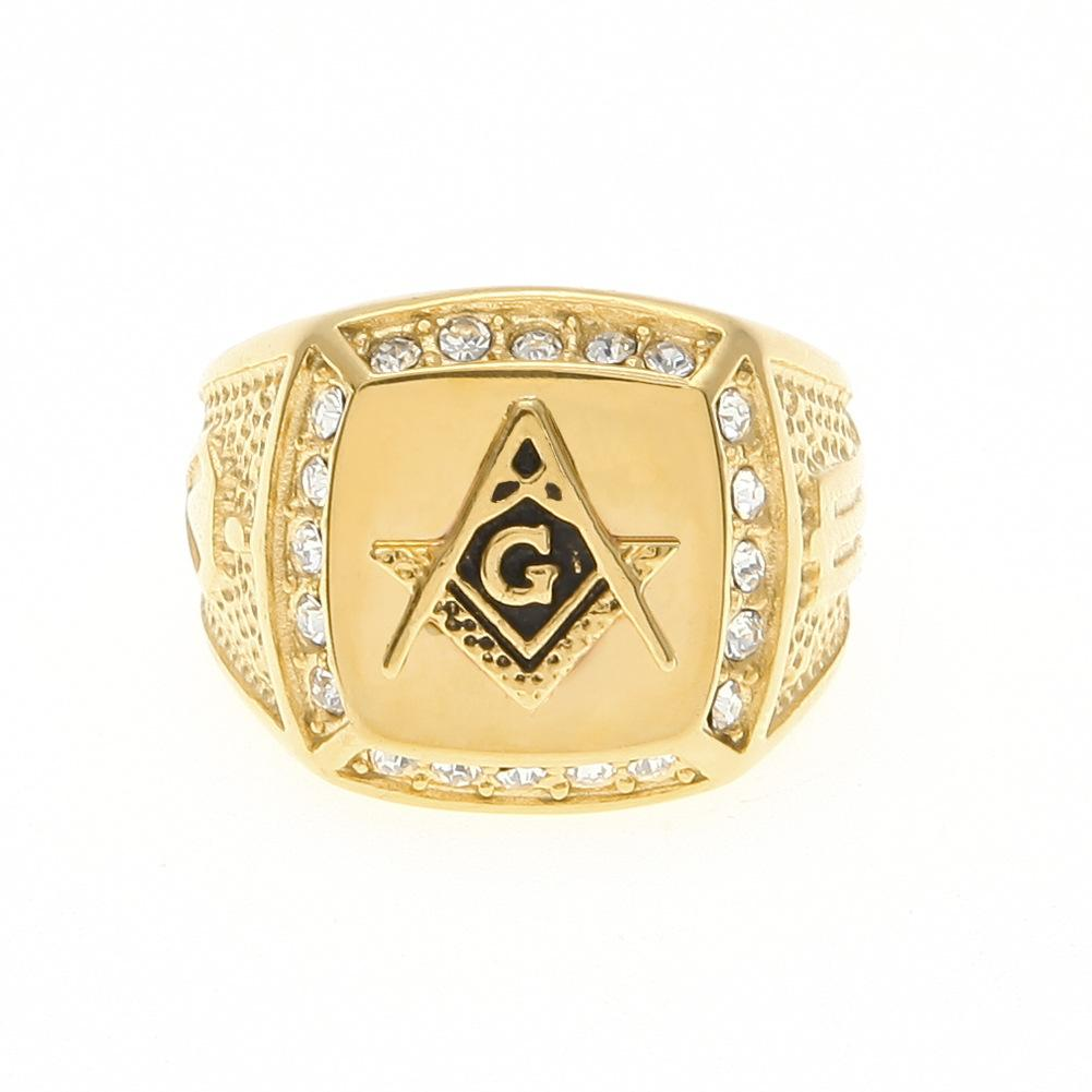 Hip hop anillo de masón de acero inoxidable venta al por mayor cz diamante hombres oro anillo masónico joyería del anillo del envío de la gota