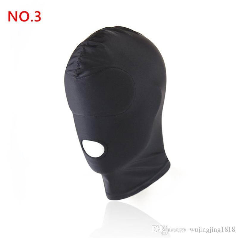 Nueva Llegada juegos para adultos Fetish Hood Máscara BDSM Bondage Negro Spandex Máscara Juguetes Sexuales Para Parejas 4 Especificaciones Para Elegir