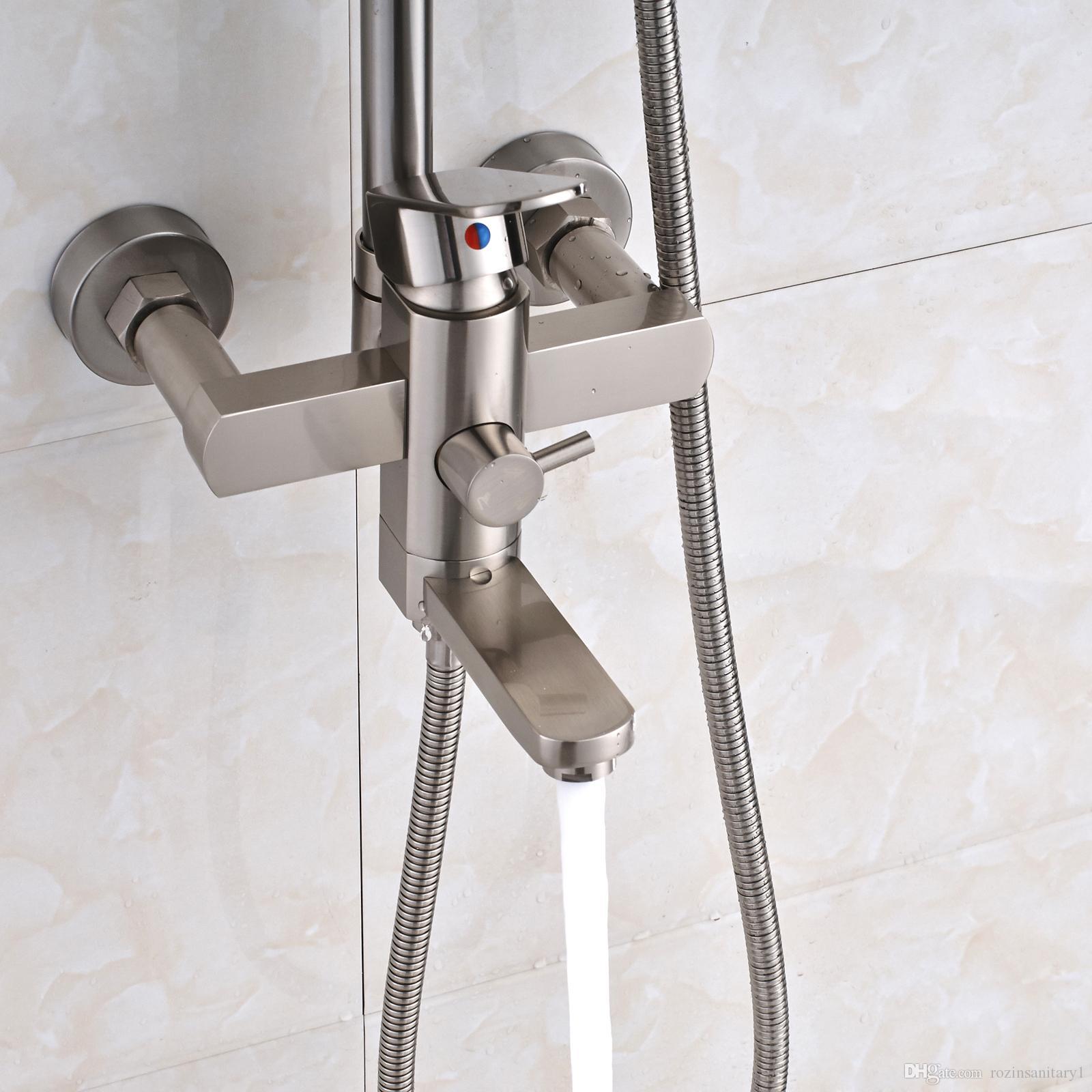 12-Zoll-LED gebürsteter Nickel-runder Duschkopf-Wasserhahn-Satz Wand-Wannen-Auslauf-Hahn drei Funktionen