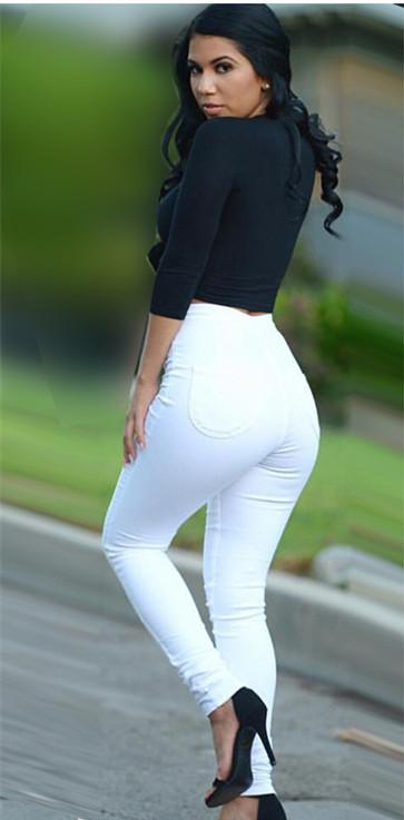 a783210710dbd 2019 Wholesale Super High Waisted White Skinny Jeans 44 Sculpt Bottoms Up  Elastic Pencil Pants Casual Full Length Denim Butt Lifting Jeans From  Baica