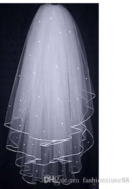 Бесплатная Доставка! 2017 Новый 3 слоя Белый бисером Слоновой Кости свадебные фаты гребень свадебные аксессуары 70 см