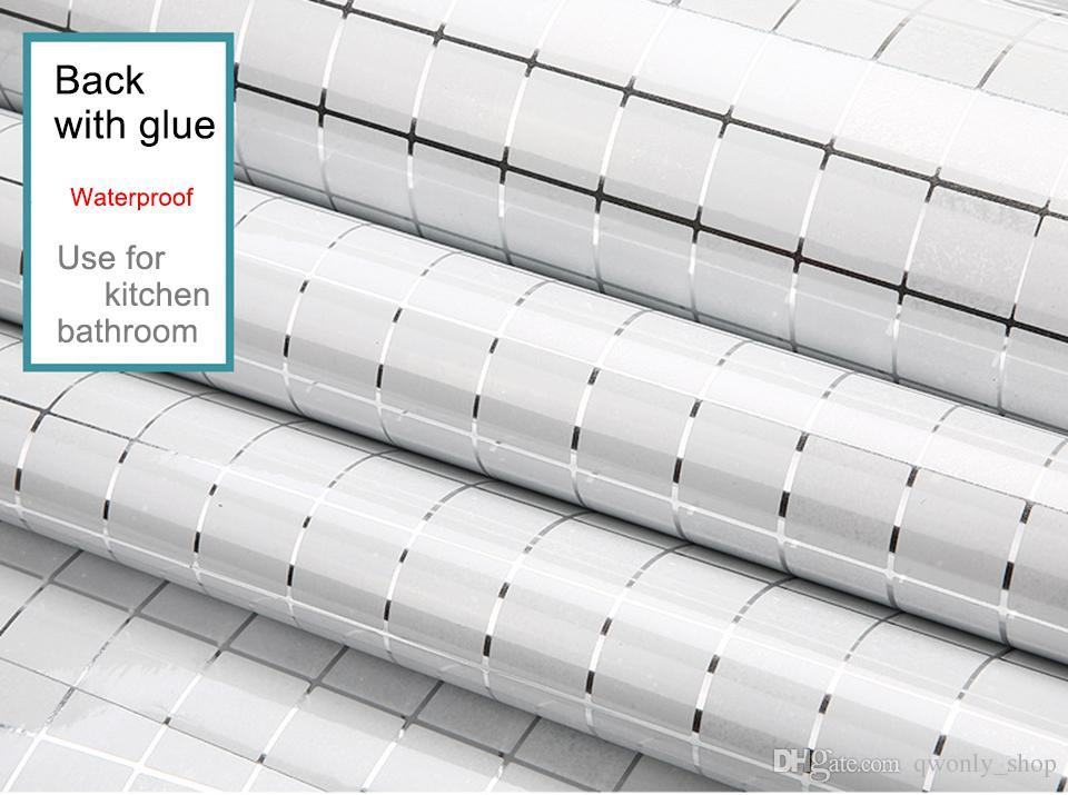Etiqueta de la pared de la cocina PVC Mosaico de mosaico de papel tapiz de baño paredes de papel pegatinas impermeables fondos de pantalla para la cocina decoración para el hogar 45 cm * 5 M / rollo