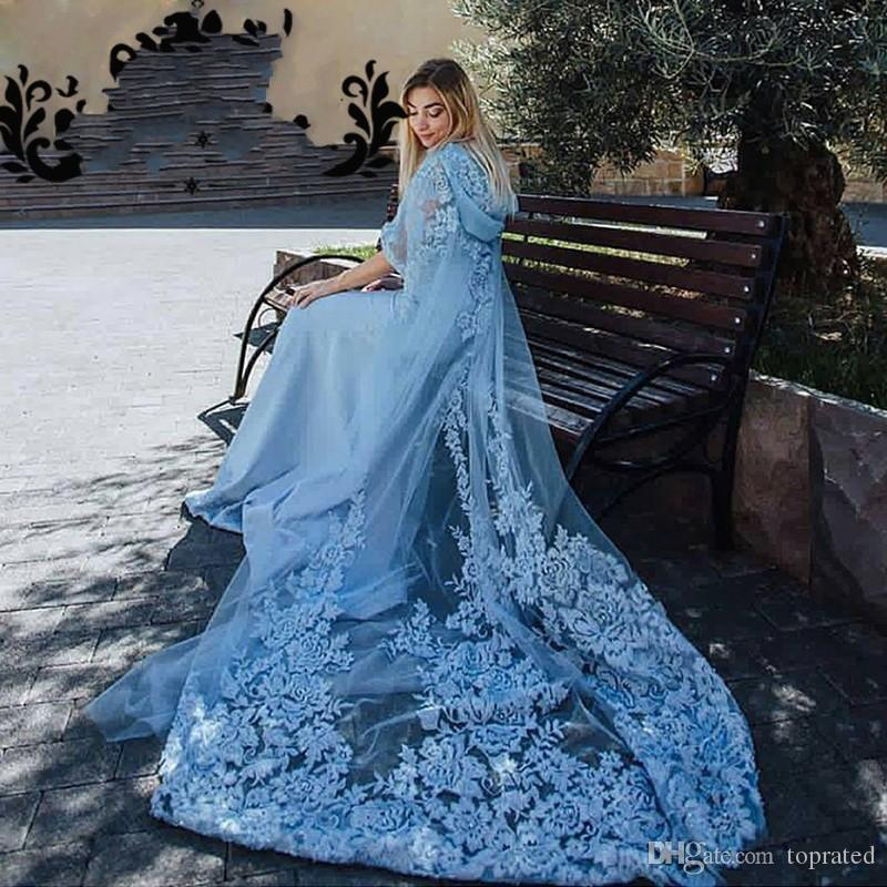 Elegant Muslim Dust Blue Evening Dresses 20120Lace Appliques with Beads Mermaid Women Formal Turkish Bridal Gowns With Hat Custom Made
