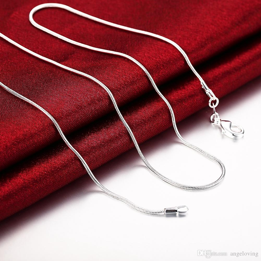 New Style 925 Silver 1mm Smooth Snake Chain Necklace Fit all Pendant Necklaces 16-24inch