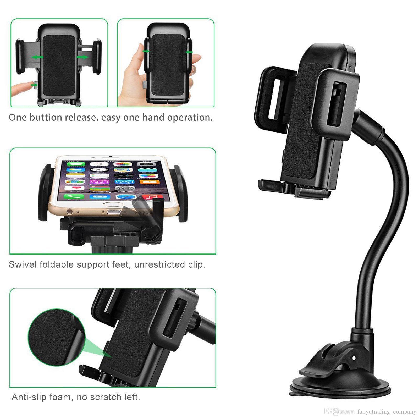 Universal 360 Grad drehbare Saugnapf Schwenkhalterung Auto Windschutzscheibenhalter Stand Wiege für Handy / iPhone / iPad / PDA / MP3 / MP4 Freies Shipp