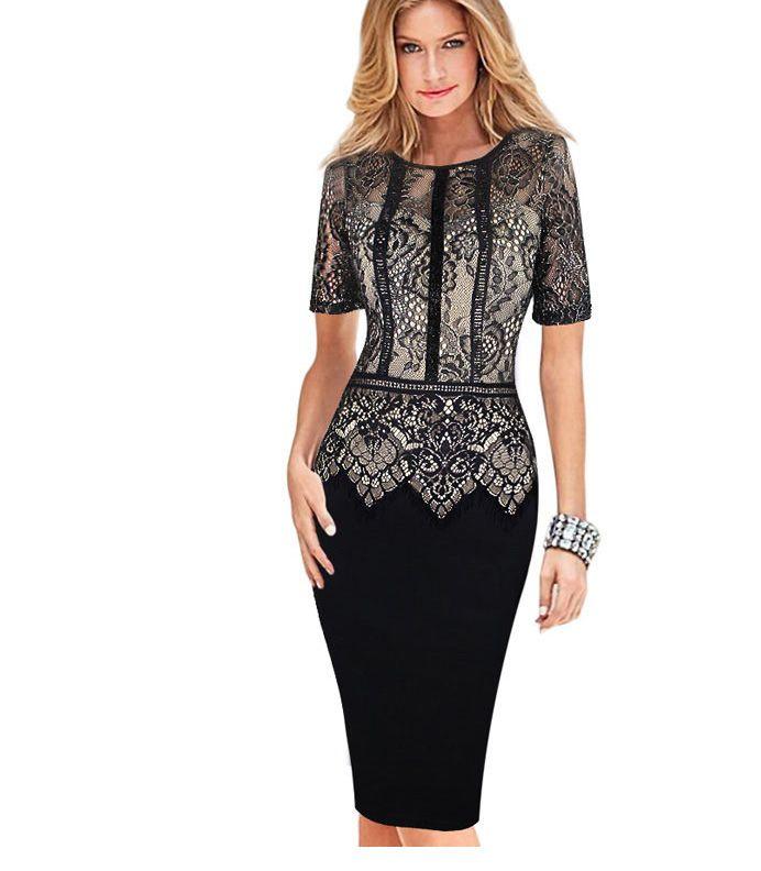 first rate 3579c 9e2bf Vestito elegante aderente da donna con vestidos in pizzo