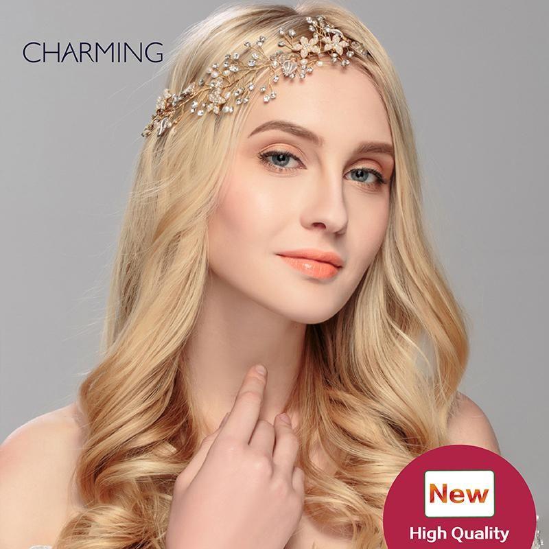 Bridal Tiara Hair Crown Unique Accessories Tiaras Crystals Pearls Wedding Cheap Flower Vines Hairstyle For Bride