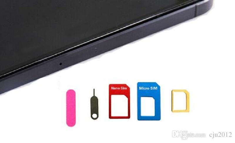 Alüminyum Metal 5 1 Nano SIM Kart için Mikro SIM Kart Standart adaptör Dönüştürücü Çıkarma Pin Set iPhone Samsung Cep Telefonu için