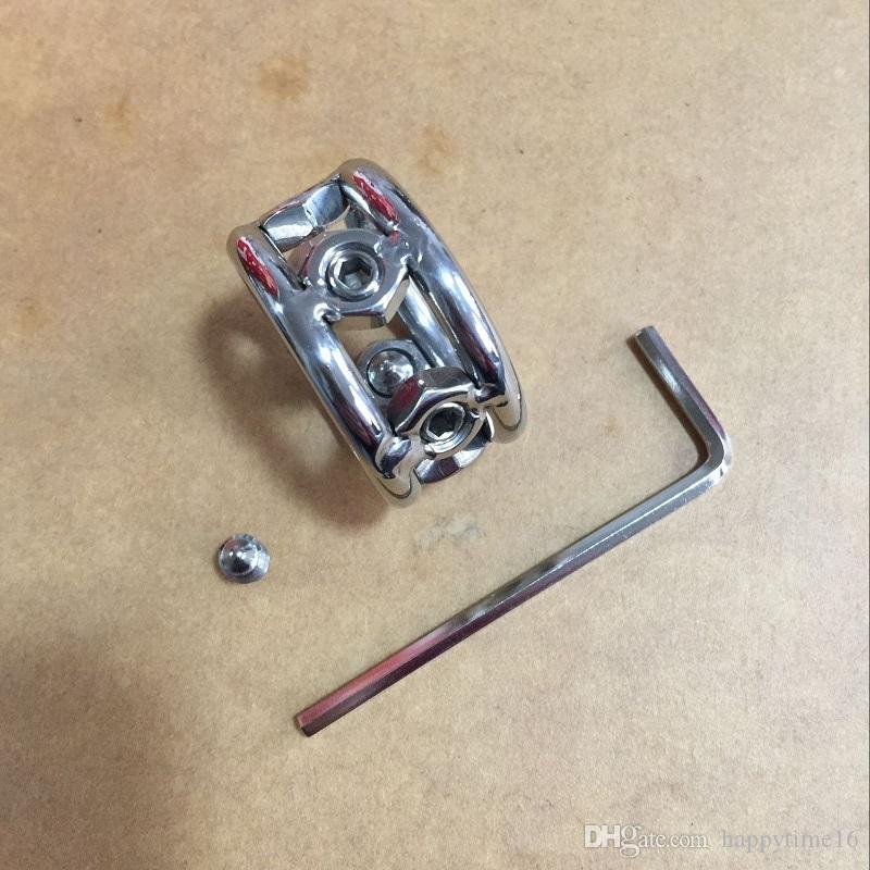 최신 패션 디자인 28mm / 30mm / 32mm 메탈 수탉 반지 19mm 두께의 스테인레스 스틸 남근 반지 남성용 나사 스파이크 bdsm 섹스 토이