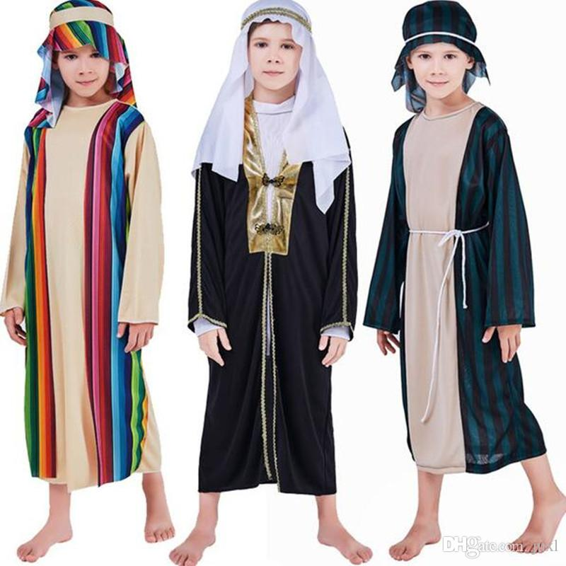 2018 Children Boys Arab Prince Warrior Cosplay Costume Stage