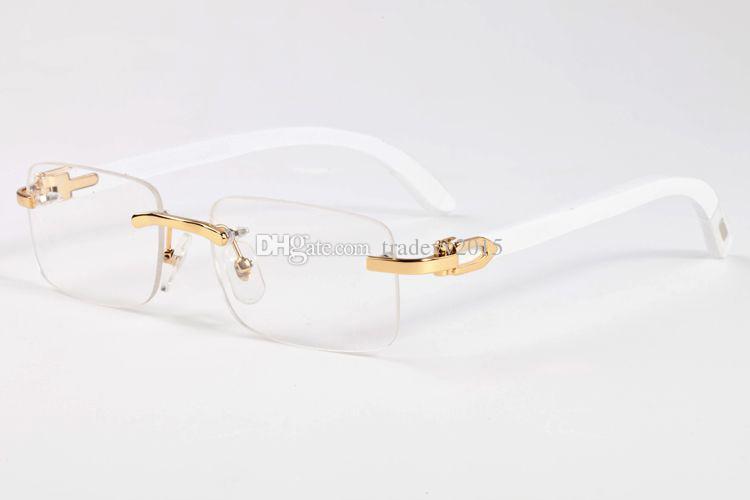 Moda gözlük çerçevesiz güneş gözlüğü kadın erkek altın buffalo boynuz gözlük beyaz doğal ayaklar bacaklar çerçeveleri rectnagle temizle lensler occhiali