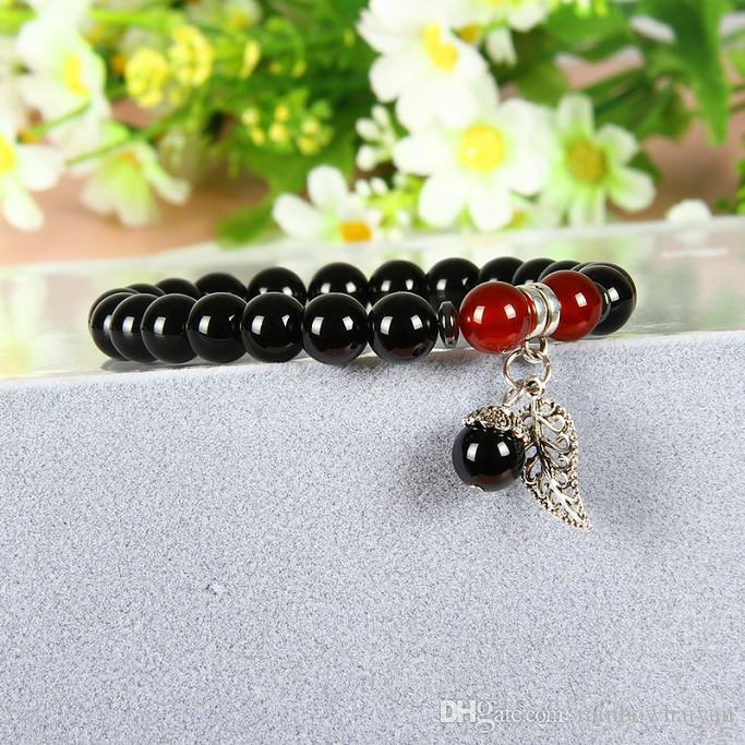 Wholesale Couples Jewelry Fruit Silver Leaf With 8mm A Grade Black Onyx & Red Agate Stone Beads Lovers Bracelets