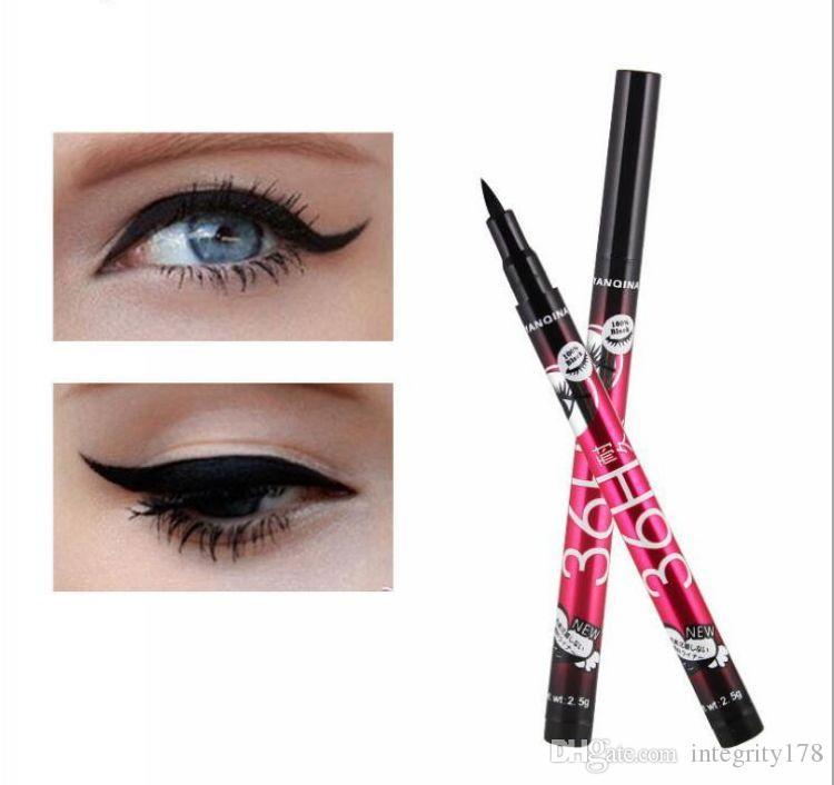 Di alta qualità YANQINA 36 H Trucco Eyeliner Matita Nero Impermeabile Eyeliner Penna No Blooming Precision Liquid eye liner 12 pz / set