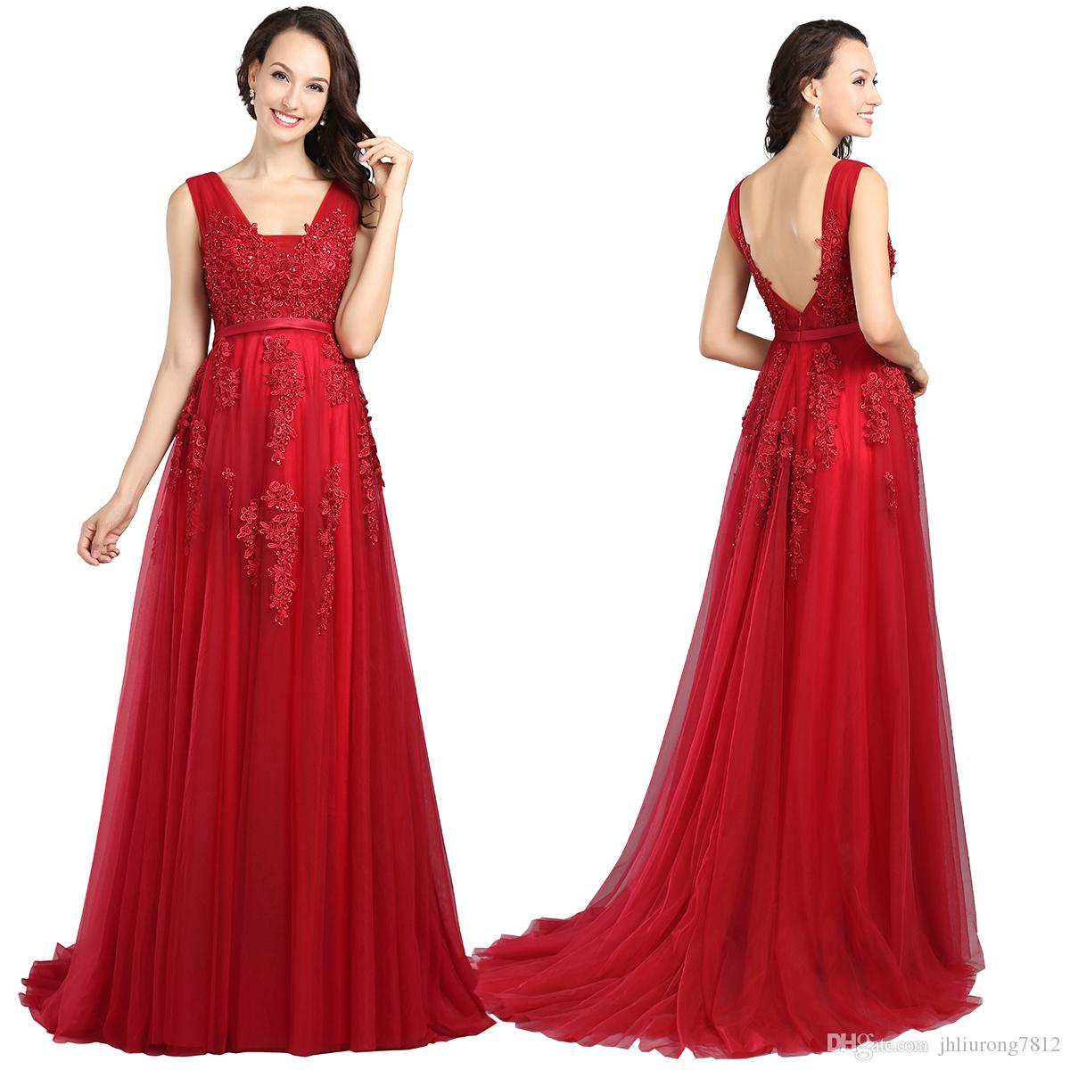 Discount Evening Dress: 2017 Red Evening Dresses Cheap Plus Size Burgundy Prom