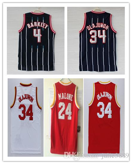 e97828738 ... canada hakeem olajuwon throwback jerseys red black stripe 4 charles  barkley 24 malone adidas houston rockets