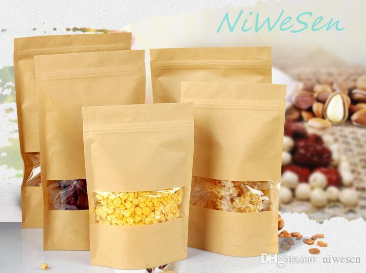 Free shipping 9x13+3CM, 100 X Brown stand up Kraft paper Zip Lock bags with Clear Window, craft paper corn flakes&coffee bean zipper pouch