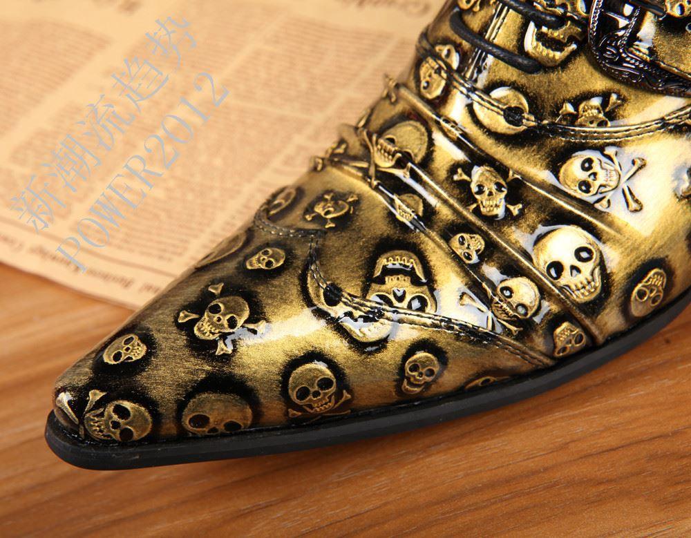 Handmake di alta qualità Zapatos Hombre Uomini scarpe di cuoio Formali scarpe da sera da uomo in oro / nero Skull Business Shoes Men, Big Size 45 46!
