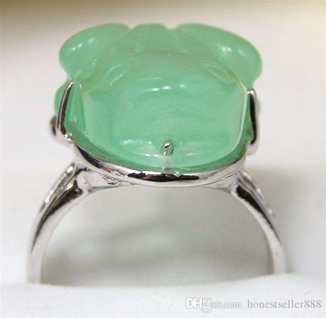 ! facny carved green/purple jade carve frog bless love ring #7,8,9
