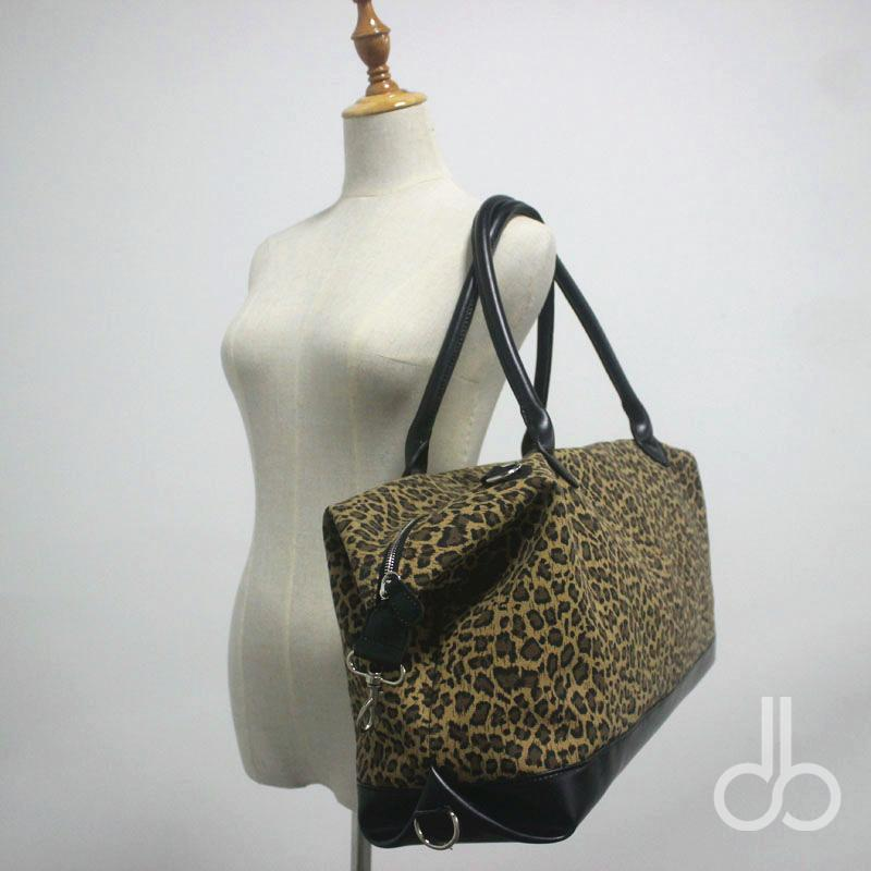 Leopard Canvas Duffle Bag Patchwork Faux Leaterh Cheetah Weekender totes Travel Bag with Shoulder Strip DOM106682