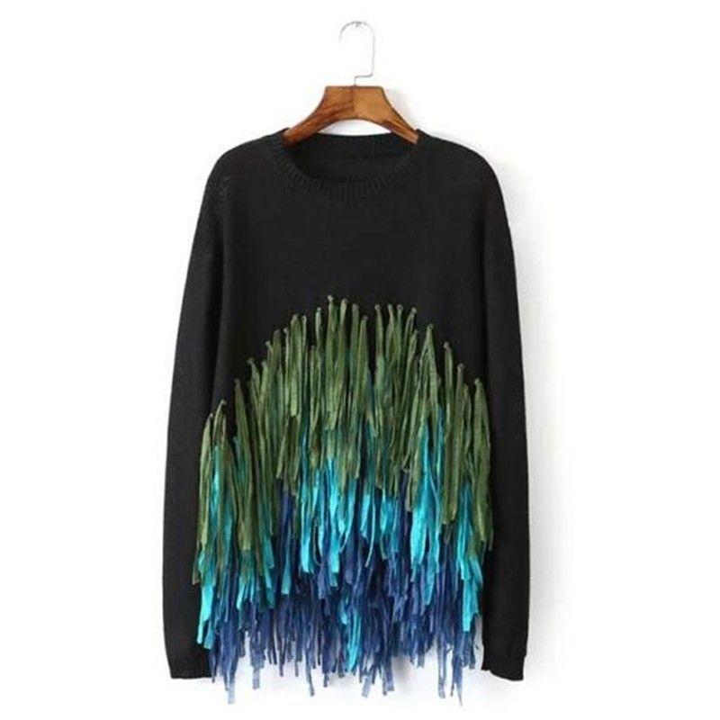 Ladies Black Tassel Pulls et Pullovers pour les femmes à manches longues Pull Femme Knitted Fringe Jumpers Blanc Tricots Tops Vêtements